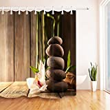 LB Zen Massage Stone Orchid Bamboo Rustic Wood Plank Stall Shower Curtain by, Relaxing Meditation Spa Bathroom Decor, 70x70 Shower Curtain Set Waterproof Anti Mold