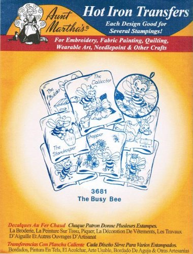 The Busy Bee Aunt Martha's Hot Iron Embroidery Transfer