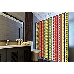 """Horrisophie dodo No Glue Static Cling Glass Sticker,Striped,Vertical Lined Bound Striped Mix Shapes with Ethnic Influences Vintage Vivid Graphic,Multi,39.37"""" H x 23.62"""" W for Home&Office"""