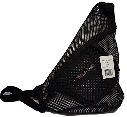 Mesh Luggage Strap - Travel Sport One Strap Mesh See Through School Sling Backpack 617BK