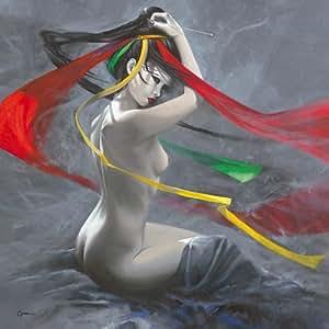 Geisha II de CA© dric Cazal, imagen en aluminio dibond, multicolor, 90 x 90cm