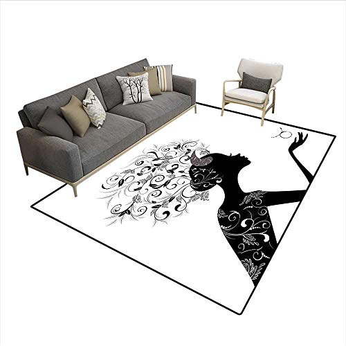 Floor Mat,Fashion Girl Black Silhouette with Floral Hairdo and Dress Modern Icon,Area Carpet,Black and White 6'6