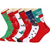 HSELL 6 Pairs Women's Christmas Holiday Casual Socks, Long Thin Cotton Bed Socks,Multi-colors,One Size