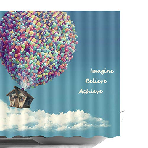 ABxinyoule Balloon Flying House Shower Curtain Bathroom Decor Waterproof Fabric. (Curtain Up Shower)