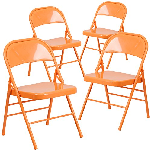 Flash Furniture 4 Pk. HERCULES COLORBURST Series Orange Marmalade Triple Braced & Double Hinged Metal Folding Chair by Flash Furniture