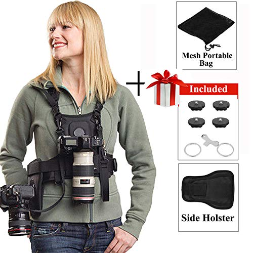 Dual Camera Holster Strap for Canon Nikon, Micnova Multi Carrying Chest Vest System for Canon 6D 600D 5D2 5D3 Nikon D90 Sony A7S A7R A7S2 Panasonic Olympus DSLR Camcorder Climbing Wedding Travel