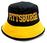 Pittsburgh City Black Bucket Golf Fishing Sun Hat Cap Embroidered Text Logo