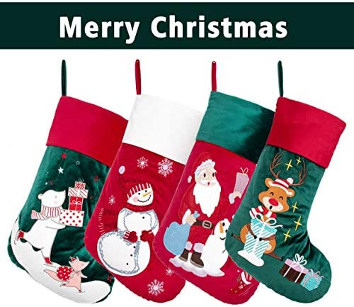 BHD BEAUTY 2020 New Luxury Velvet Lovely Embroidery Pattern Set of 4 Christmas Stockings for Family Classic Fireplace Decorations Hanging Ornament for Xmas Holiday Party 21 inches