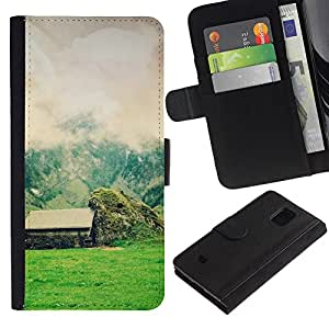 Planetar® Modelo colorido cuero carpeta tirón caso cubierta piel Holster Funda protección Para Samsung Galaxy S5 Mini / SM-G800 (Not For S5!!!) ( Nature Beautiful Forrest Green 58 )