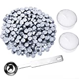 wax sticks for seals silver - Hestya 230 Pieces Octagon Sealing Wax Beads Sticks with 2 Pieces Tea Candles and 1 Piece Wax Melting Spoon for Wax Stamp Sealing (Silver)
