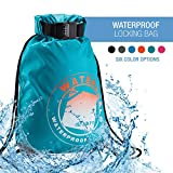 WaterSeals Locking Cinch Drawstring Backpack Women & Men - Anti-Theft Combination Lock + Ripstop Waterproof Material to Protect Wallet iPhone + Valuables at the Beach Pool Sports Camping, Teal