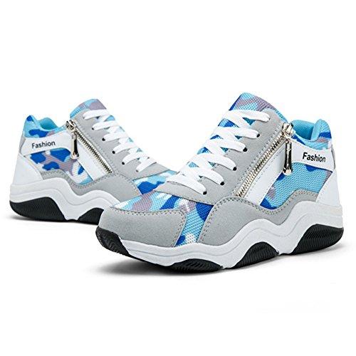 Btrada Womens Aumentata Scarpe Da Ginnastica Stringate Sportive Leggere Camminando Scarpe Da Viaggio Allaperto Blu