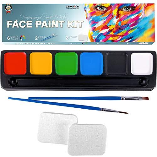 Halloween Faces Black And White (Face Paint Kit for Kids, Large Water Based Paints, Halloween Makeup Kit, Professional Face Paint Palette, Face Paints Safe for Sensitive Skin, Face Painting Book (6 Large Face Paint Colors)