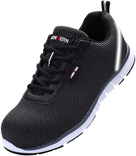 LARNMERN Steel Toe Shoes Men, Work Safety Sneakers Reflective Strip SRB Lightweight Industrial & Construction Shoe (8.5, Knit Black S1) (Steel Toe Grinders)