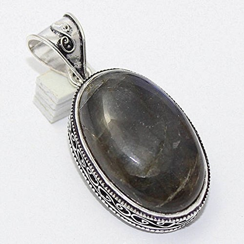 Labradorite Oval Silver Overlay Pendant Fashion Jewellery Antique Vintage Jewelry 2 Inches ()