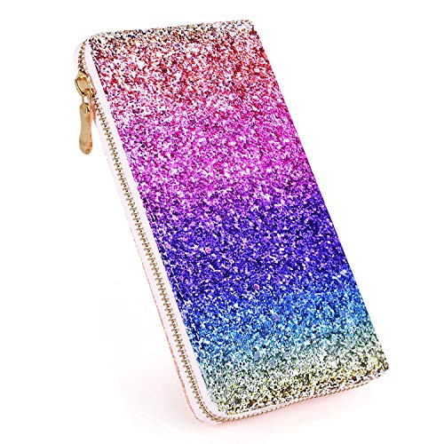 Laimi Duo Ombre Bling Glitter Wallet Womens RFID Blocking Leather Holographic Purse Handbag Party Clutch Card Organizer for Women (RAINBOW)