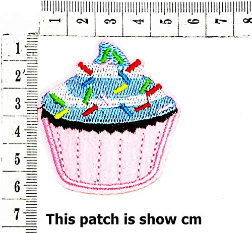 Cupcake Snack Fairy Cake Sweets Retro Cartoon Chidren Kids Embroidren Iron Patch/Logo Sew On Patch Clothes Bag T-Shirt Jeans Biker Badge Applique