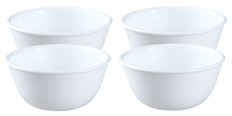 Corelle Livingware 12-Ounce Soup/Dessert-cup, Winter Frost White (4 Bowls)