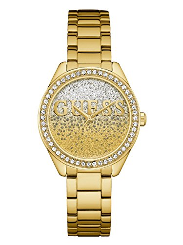 GUESS  Gold-Tone Stainless Steel Crystal Glitter Logo Watch. Color: Gold-Tone (Model: - Watch Crystal Accent Guess