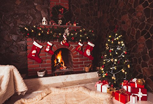 Vintage Stock Photography (7x5ft Red Brick Fireplace Christmas Backdrop Vintage Stone Wall Glitter Christmas Tree Photography Backdrop Christmas Background for Parties)