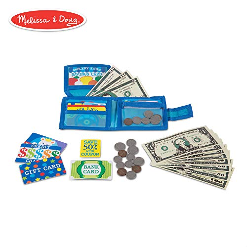 - Melissa & Doug Pretend-to-Spend Wallet (Pretend Shopping Toy, 40+ Pieces)