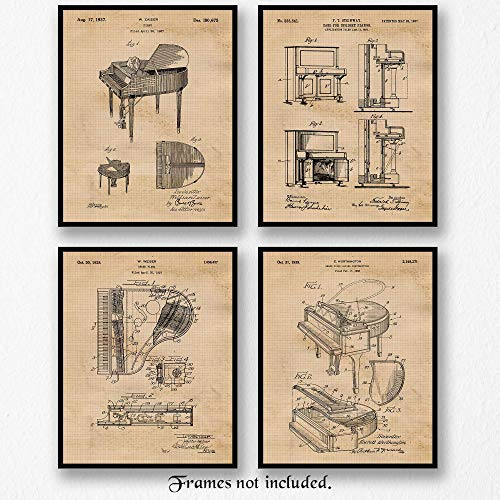 (Original Piano Patent Poster Prints- Set of 4 (Four 8x10) Unframed Pictures- Great Wall Art Decor Gifts Under $20 for Home, Office, Garage, Man Cave, School, Studio, Teacher, Pianist, Band, Music Fan)