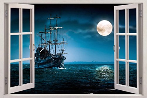 PIRATE SHIP 3D Window View Decal WALL STICKER Home Decor Art Mural Fantasy, huge C073