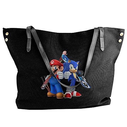 Sonic Hedgehog And Mario Handbag Shoulder Bag For Women (Female Sonic The Hedgehog)