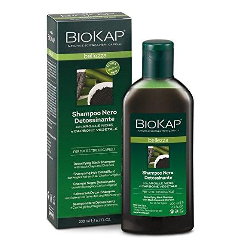 Biokap Shampoo Nero Detossinante 200 ml con Carbone Vegetale e Argille Nere Purificante Allevia Prurito e Arrossamenti bios line