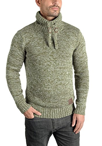 100 solid Pull Pull Coton Ivy Tricot Avec Pour Phirance Maille Grosse Green Col En Droit over 3797 Homme HHrxwOFq5