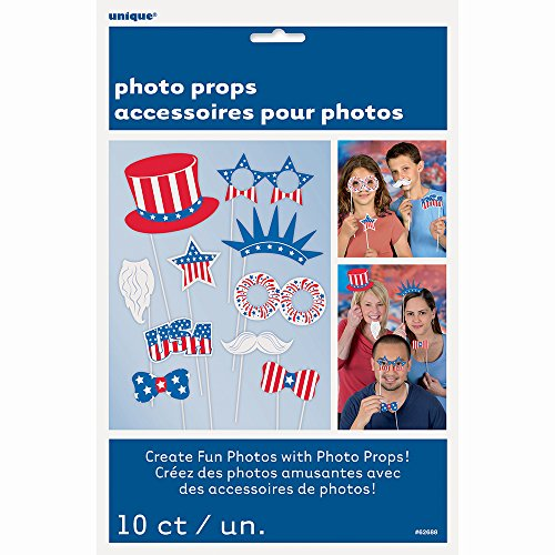 Patriotic Photo Booth Props, 10pc