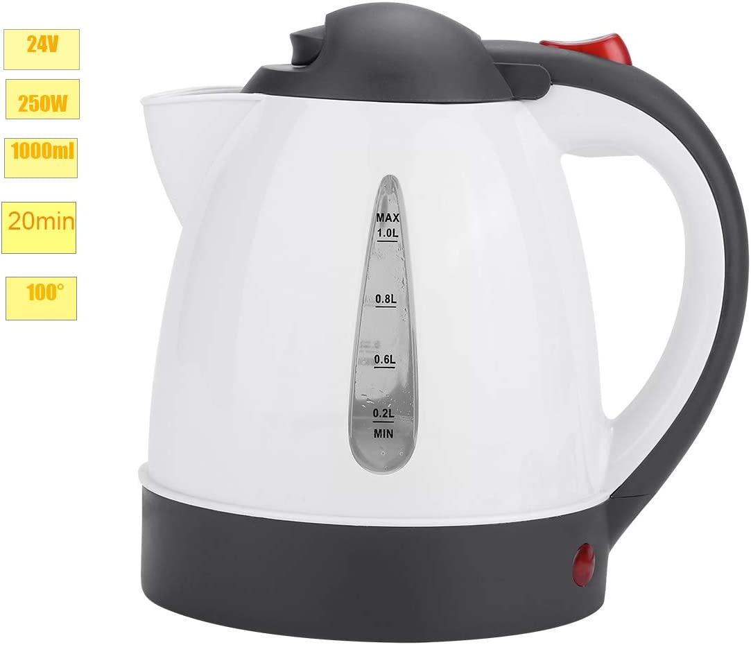 Up to 100/°C//212/°F in 20 minutes Truck Kettle 1000ml 24V Travel Car Truck Kettle 250W Truck Kettle for Hot Water Tea Coffee