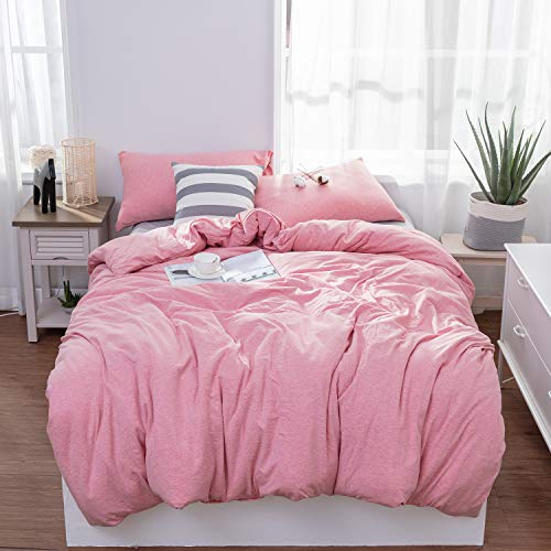 LIFETOWN Jersey Knit Cotton Duvet Cover Queen Full Size Pink Duvet Cover Set 3 Pieces, Simple Solid Design, Super Soft and Easy Care
