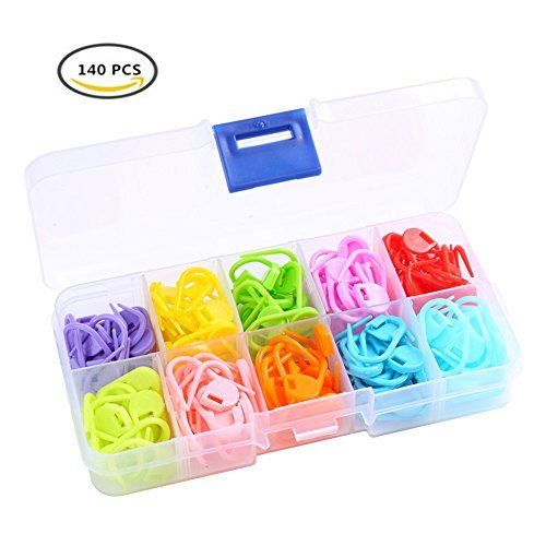 Heirtronic 140 Pieces Assorted Color Crochet Locking Stitch Markers Knitting Stitch Counter Needle Clip with Storage Case10 Colors