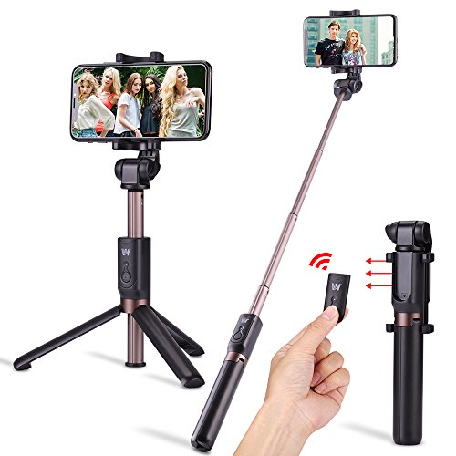 Selfie Stick,Foretoo Extendable Monopod, Rechargerable Bluetooth Remote Shutter,360 Degree Rotation Phone Holder for Mobile Phone &Android Samsung Galax (Black)