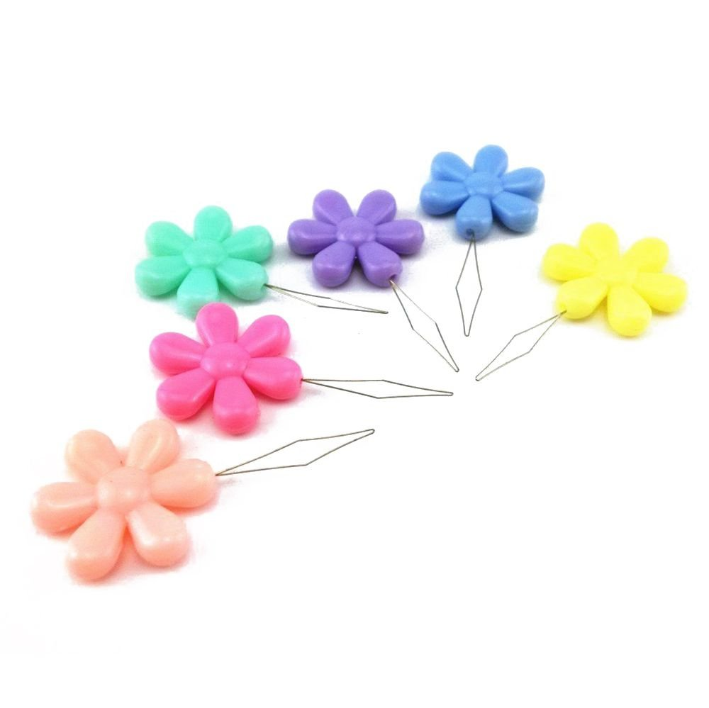30pcs Random Color plastic+metal Flower Head Wire Loop DIY Needle Threader Stitch Insertion Hand Machine Sewing Tool R TOOGOO
