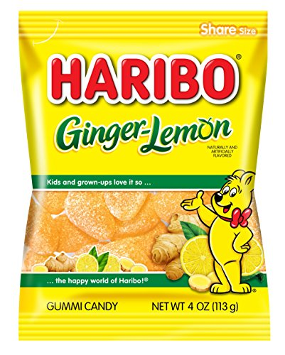 Haribo Gummi Candy, Ginger-Lemon, 4 oz. Bag (Pack of 12) (Haribo Gummy Candy Sugarless Gummy Bears Ingredients)