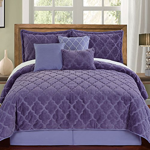Home Soft Things Serenta Faux Fur Ogee Embroidery 7 Piece Bedspread Quilts Set, King, Daybreak