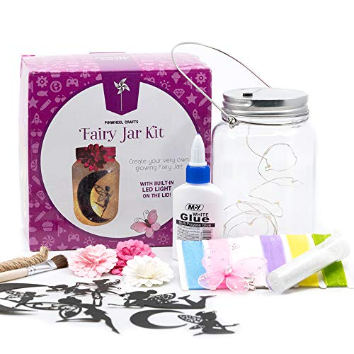 Fairy Craft Kits for Girls - Make Your Own Fairy in A Jar Night Light Kit - Fun DIY Arts and Crafts Project for Kids Ages 6 7 8 9 10 11 12 - Great Gifts for All Occasions