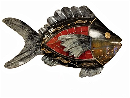 All Seas Imports Hand-chiseled Tropical Metal Art Wall Decor Fish With Unique Red Inlaid Mosaic Glass-Pointing Right!