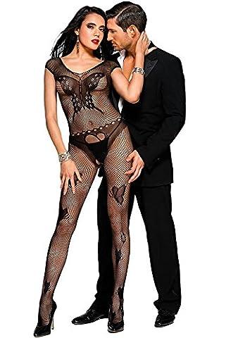 Women's Sexy Black Butterfly Accent Fishnet Open Crotch see through Bodystocking Bodysuit Tights - Barbara Women Underwear