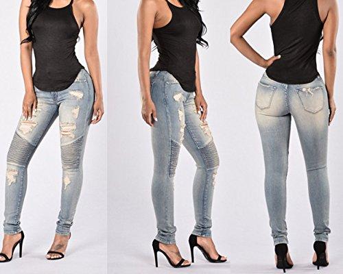Jeans Eleganti Lunghi TieNew Leggings Elastico Pantaloni Matita Pantaloni Vita Casuale Skinny Alta in Pants Donna Stretti Denim 1PUwPzxqrY