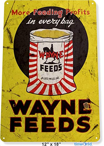 Sign Store Feed Tin (TIN Sign Wayne Feeds Livestock Farm Barn Cottage Cabin Store Metal Decor B745 Tin Sign 7.8inch11.8inch)