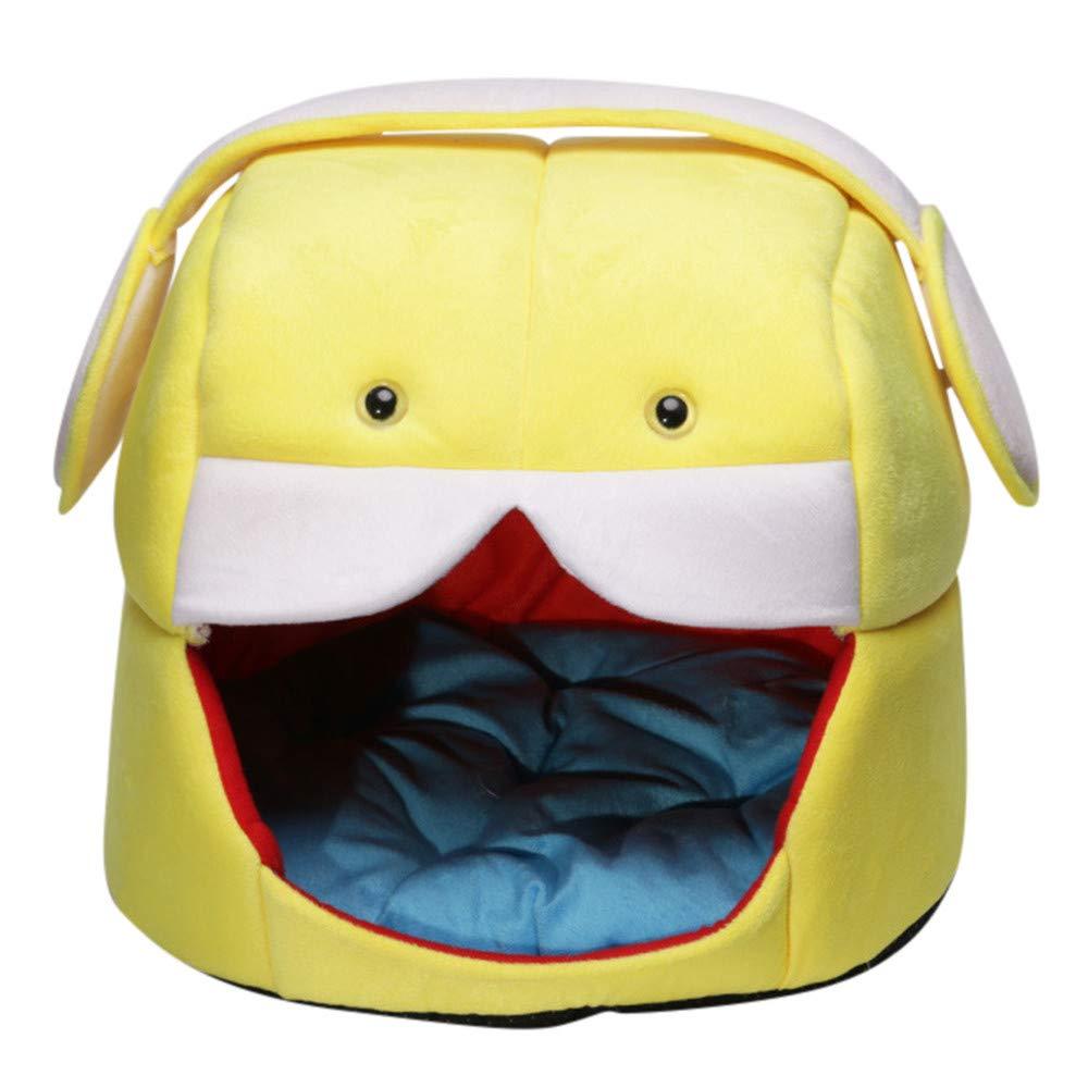 Sinwo 折りたたみ式ペットハウス&ベッド用犬猫ベッドソフトケネルマットパッド 暖かい子犬用クッションバスケット B07JMCBFHM イエロー Small Small|イエロー