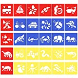 Homder Stencils Templates Painting Gift for Boys and Girls - Transportation, Insects, Sea Animals, Land Animals, Dinosaur - Great for School Project or Family Party Painting Games (30pcs)