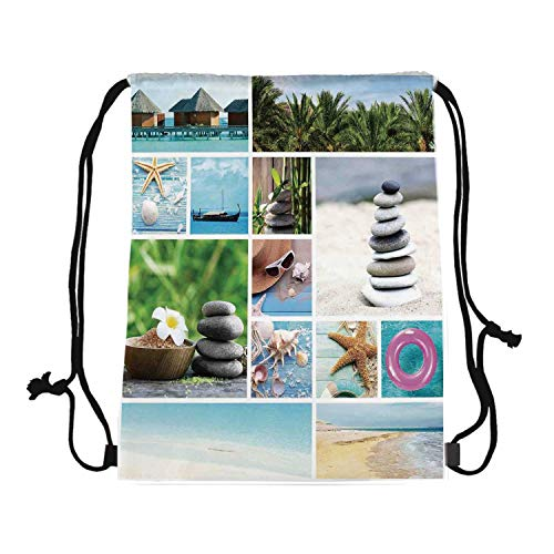 Spa Canvas Drawstring Bag,Collage of Spa Composition with Tropical Sandy Beach Ocean Rock Views Relax Rest Image for Travel Shopping,One_Size