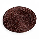 Koyal Wholesale Round Rattan Charger Plates, Dark Brown, Set of 24
