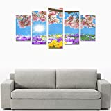 Hotel or Spa Wall Decoration Pink Jasmine Colorful Flower Room Wall Canvas Print Living Room Fashion Personality Decorative Oil Painting 5 Piece Canvas painting (No Frame)