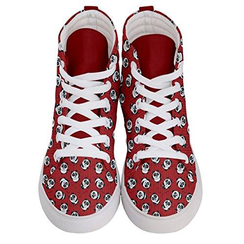 Panda Cowcow Et Ballons Modèle Plaisir Chaussures Des Femmes Hi Top Sneakers Skate Rouge