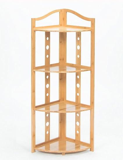 Amazon.com: Corner Shelf Frame Shelves Wall Bookshelf Bamboo Living ...